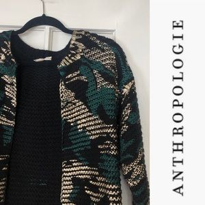 Vintage Anthropologie Moth Painted Gold Camo Cardigan Sweater
